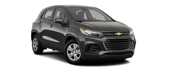 A dark grey 2020 Chevy Trax is angled right.