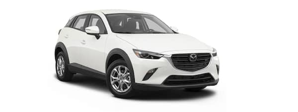 A white 2020 Mazda CX-3 is angled right.