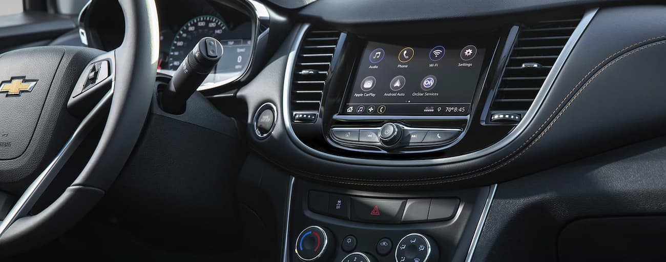 The screen in a 2021 Chevy Trax is shown.