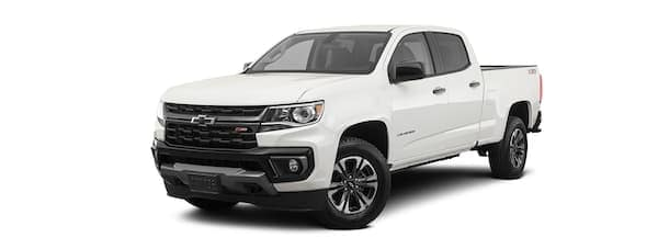 A white 2021 Chevy Colorado is angled left.