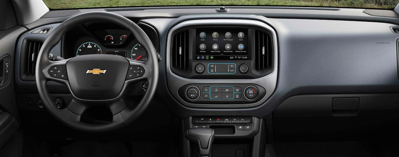 The infotainment screen in a 2021 Chevy Colorado is shown.