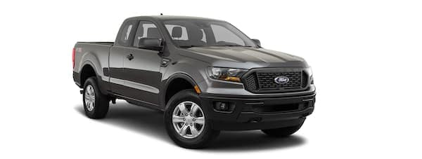 A black 2021 Ford Ranger is angled right.