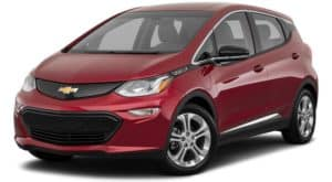 A red 2020 Chevy Bolt EV, similar to the upcoming 2021, is angled left.