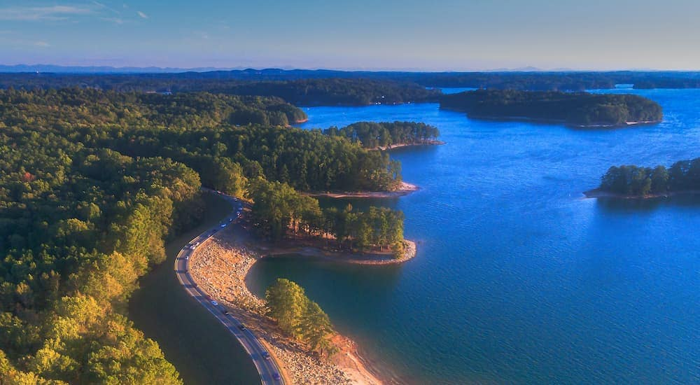 Lanier Lake is shown from a high angle in Suwanee, GA.