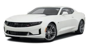 A white 2021 Chevy Camaro is angled left.