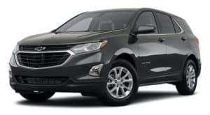 A black 2021 Chevy Equinox is angled left.