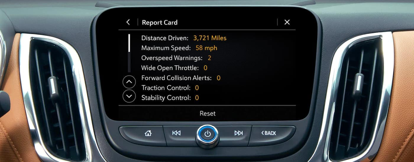 A close up is shown of the infotainment screen with monitored safety information on a 2021 Chevy Equinox.