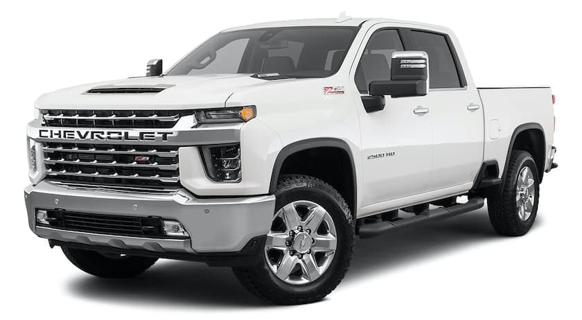 A white 2020 Chevy Silverado 2500HD is angled left.