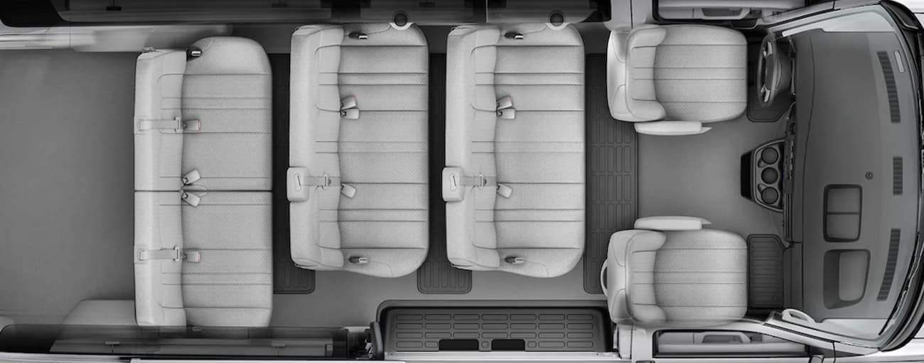 An aerial view shows the seating in a 2021 Chevy Express van.