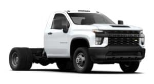 A white 2021 Chevy Silverado 3500 HD Chassis Cab is angled right.