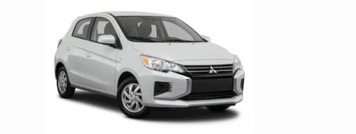 A white 2021 Mitsubishi Mirage is angled right.