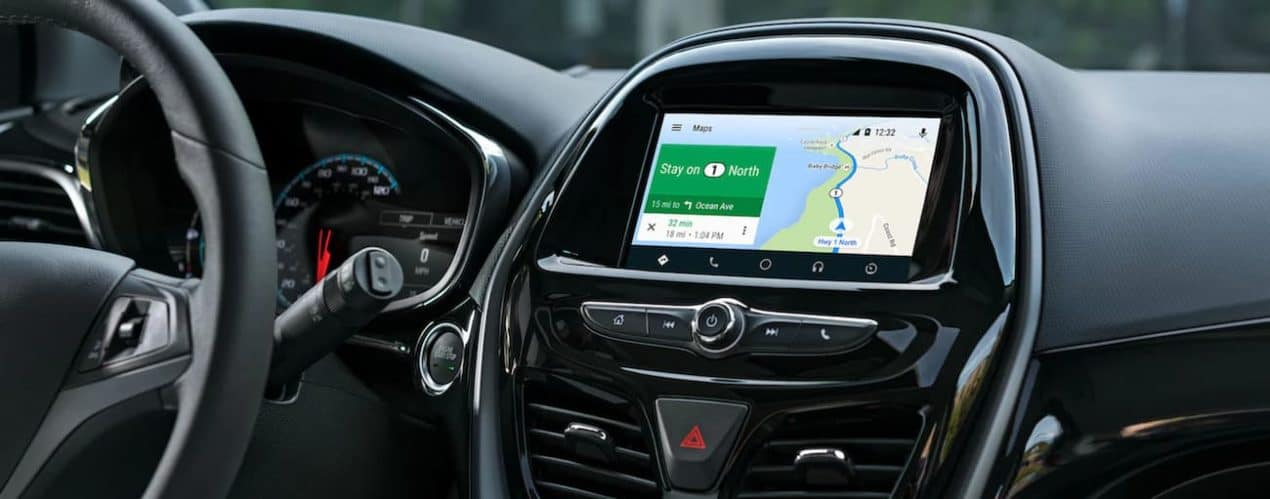 Navigation is displayed on the infotainment screen in a 2021 Chevy Spark