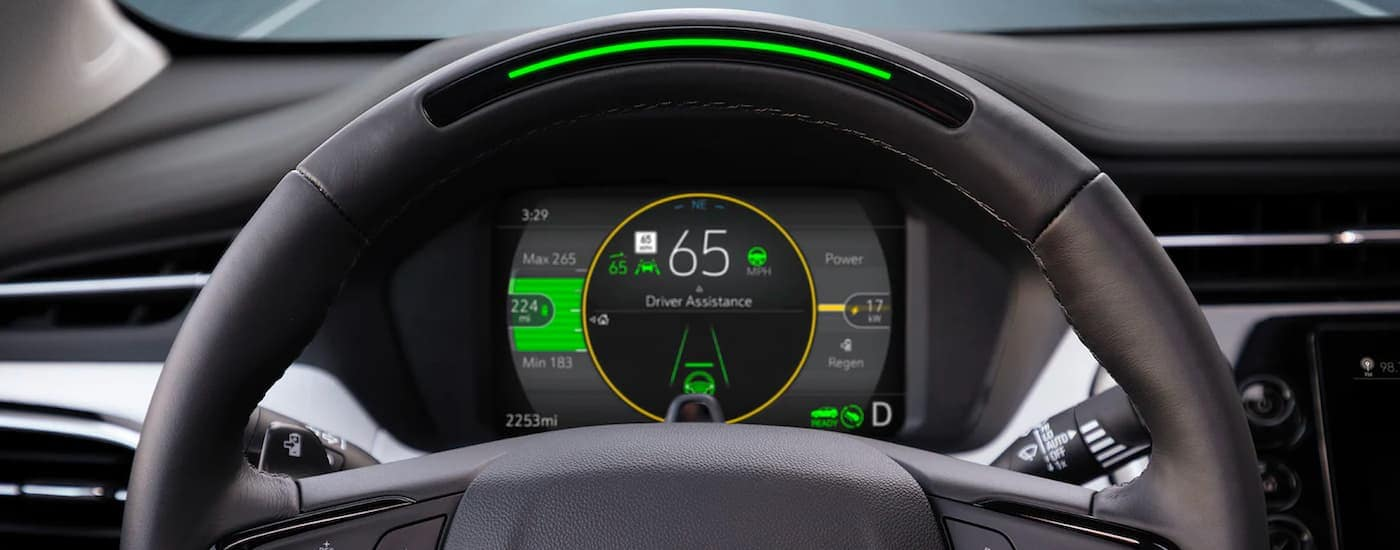 A close up shows the gauge cluster and driver assistance features in a 2022 Chevy Bolt EUV.
