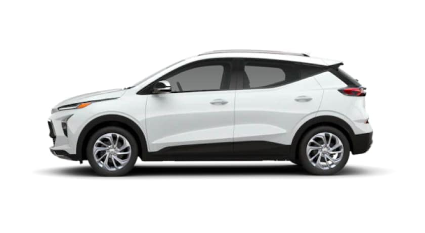 A white 2022 Chevy Bolt EUV is shown from the side.