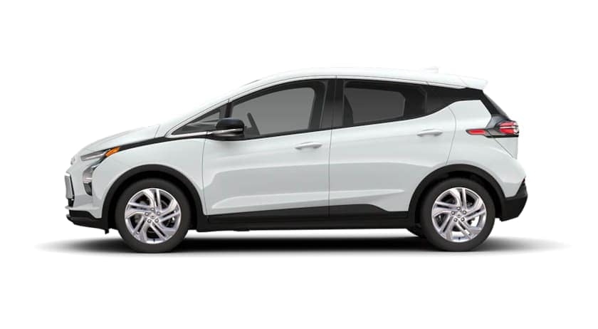 A white 2022 Chevy Bolt EV is shown from the side.