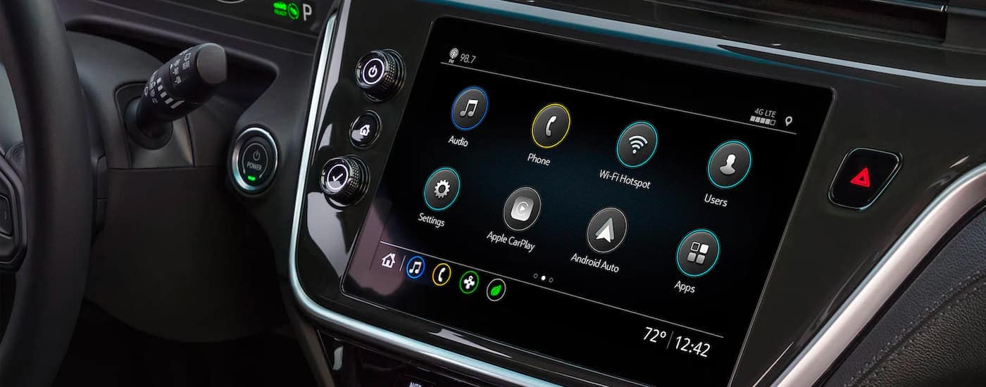 A close up shows the infotainment screen and apps in a 2022 Chevy Bolt EV.