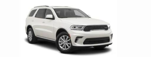 A white 2021 Dodge Durango is angled right.