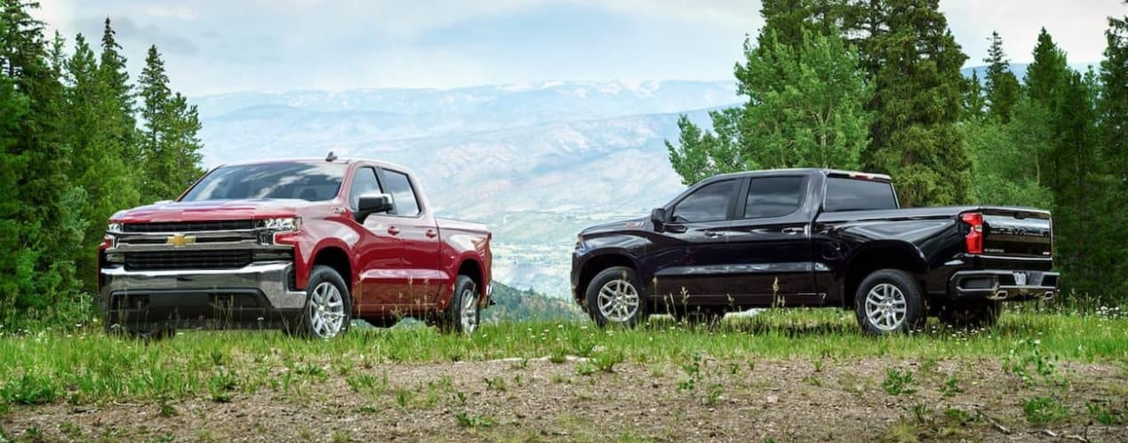 A red and a black 2021 Chevy Silverado are parked on grass in front of mountains during a comparison for the 2021 Chevy Silverado 1500 vs 2021 Chevy Colorado.