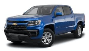A Blue 2022 Chevy Colorado is shown angled left .