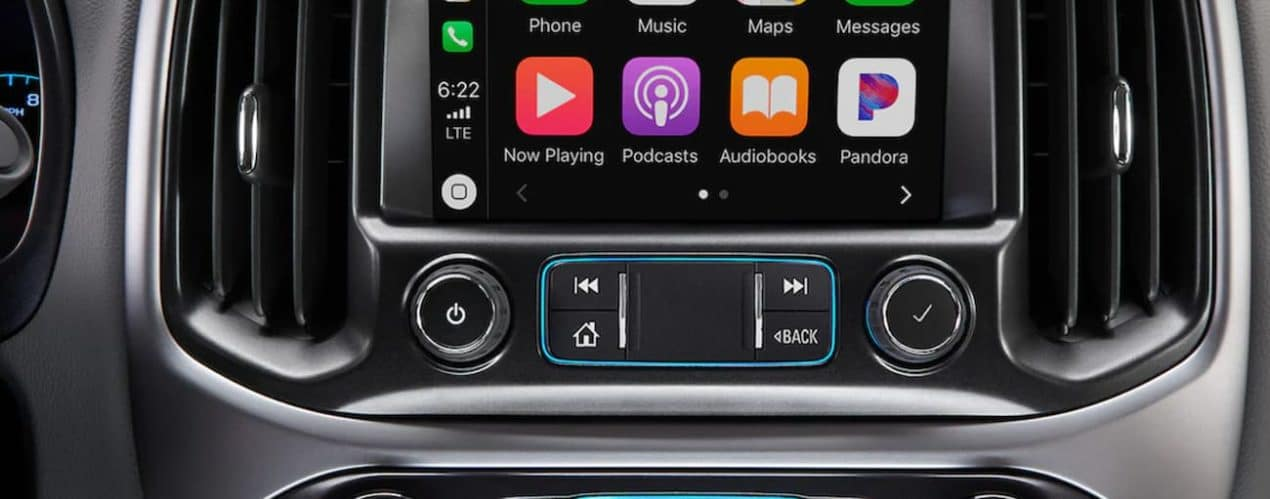 The interior of a 2022 Chevy Colorado shows the infotainment screen.