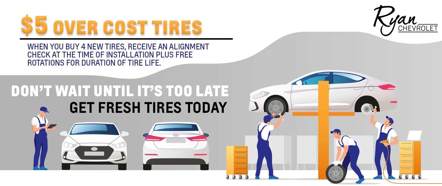 Every Tire. Every Day. $5 Over Cost.