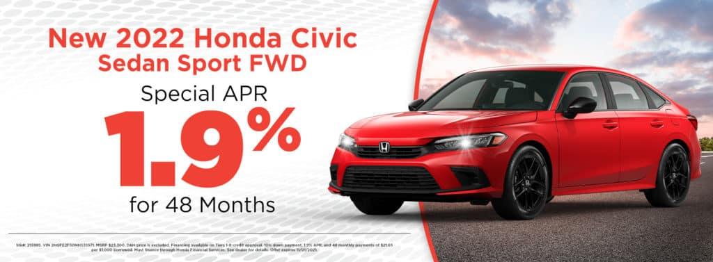 New 2022 Honda Civic Sedan Sport FWD