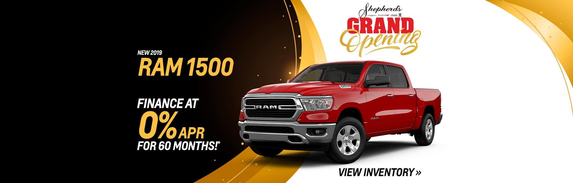 Finance a New RAM 1500 Truck at 0% APR.