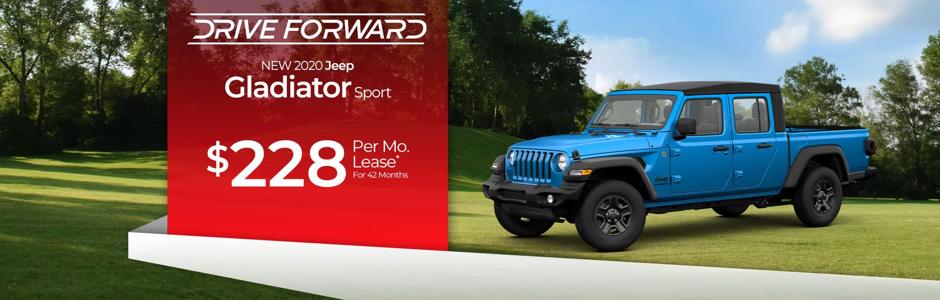 Lease a Jeep Gladiator for $228 a month near Kendallville, Indiana