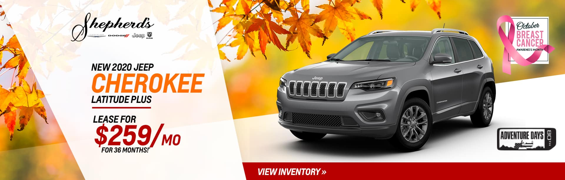 Lease a New Jeep Cherokee for $259 a month near Kendallville, Indiana
