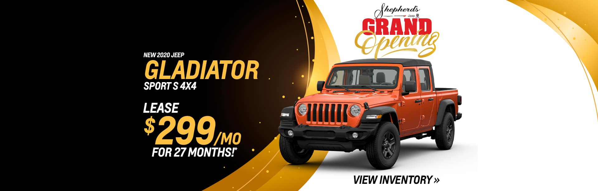 Lease an all New Gladiator for $299 a month near Fort Wayne, Indiana