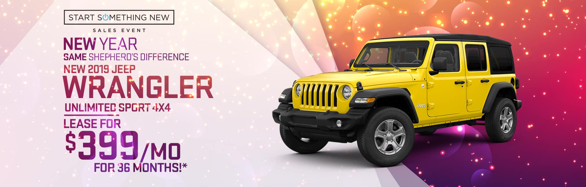 Lease special on a New Jeep Wrangler near Fort Wayne, Indiana