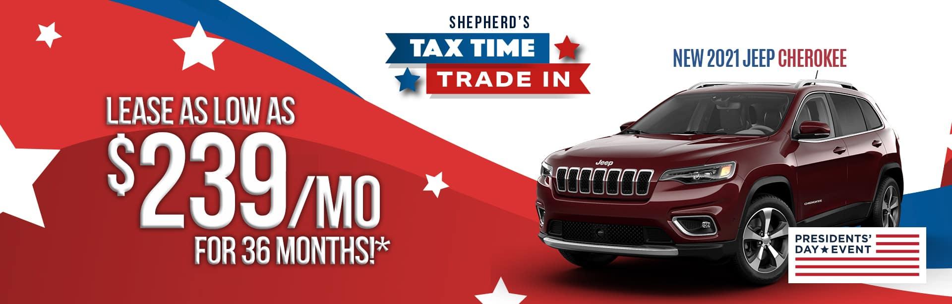 Best lease deal on a new 2021 Jeep Cherokee near Auburn Indiana