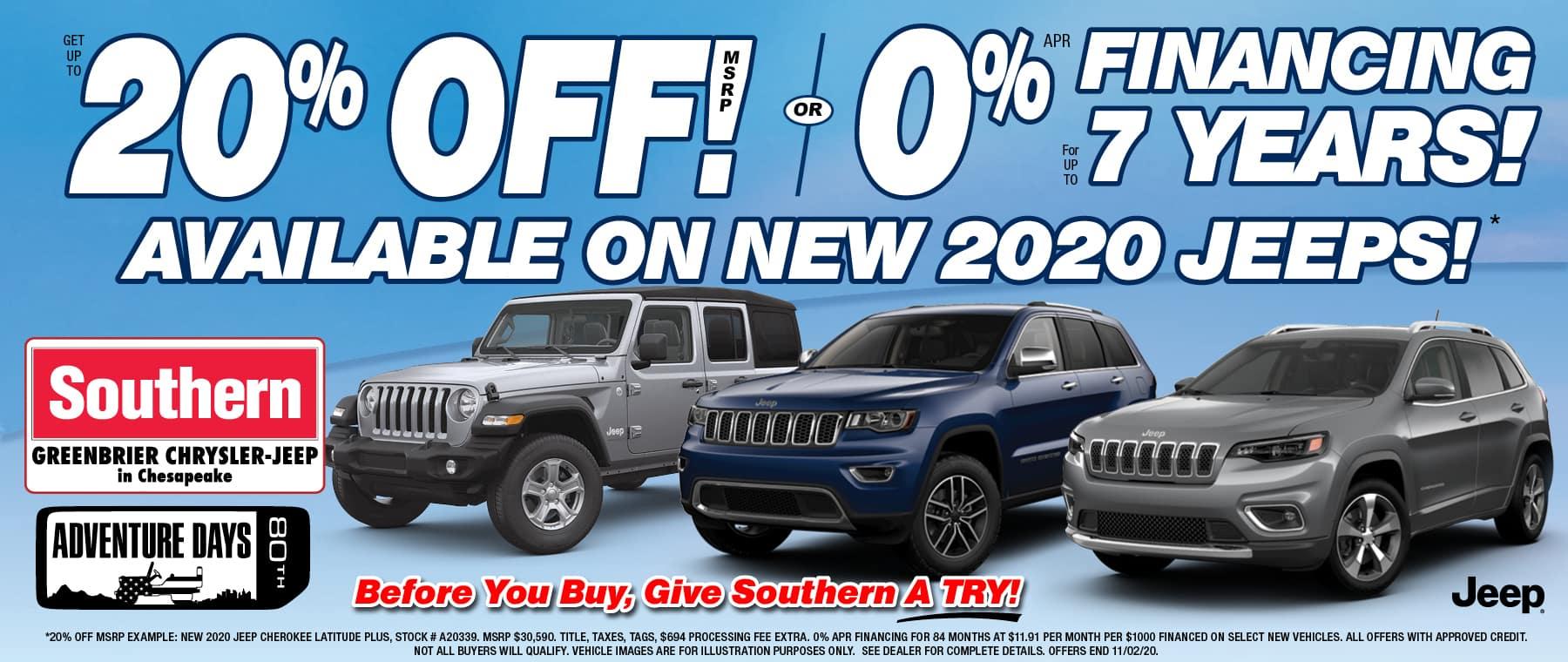 Southern Jeep Chesapeake 0% – Oct 2020