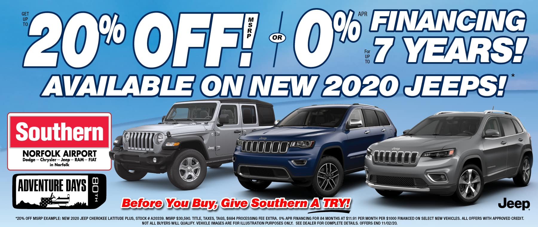 Southern Dodge 0% for 84 – Oct 2020