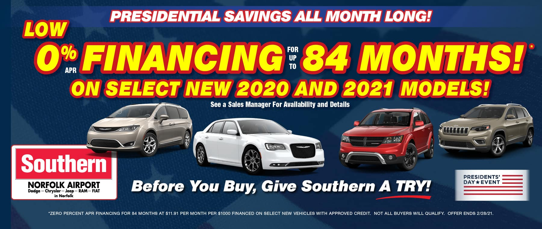 February 0% for 84 months – Southern Dodge