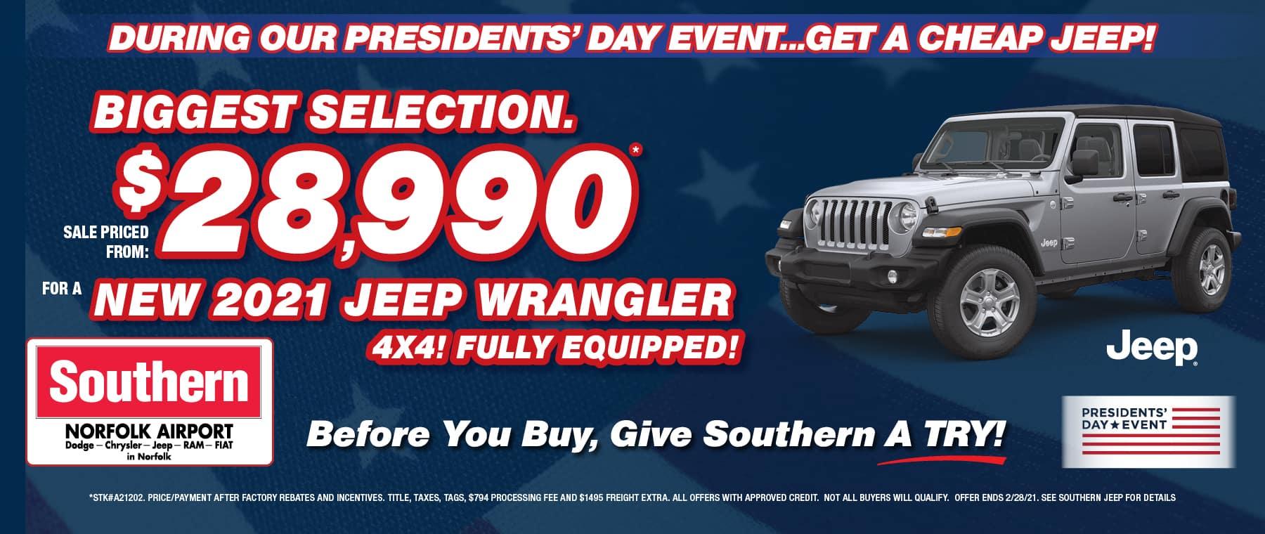 February Jeep Wrangler – Southern Dodge