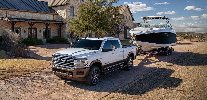 2020 RAM 2500 towing boat to lake