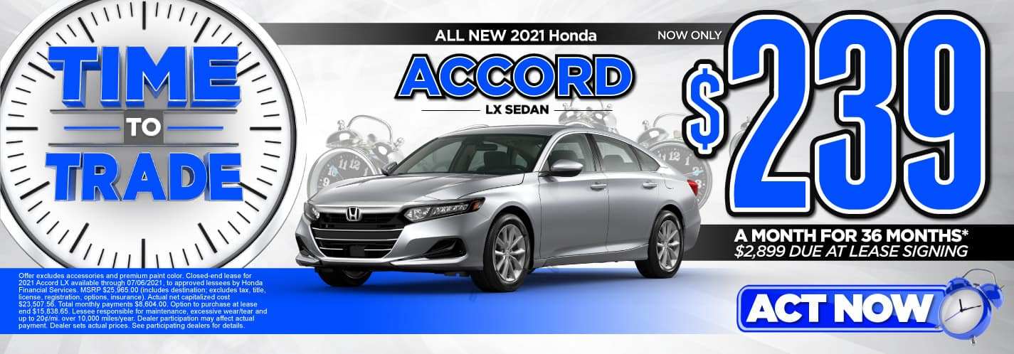 All New 2021 Honda Accord LX Sedan   Now Only $239 a month for 36 months   $2,899 Due at Lease Signing   ACT NOW