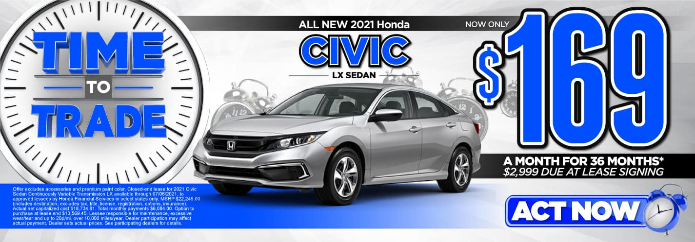All New 2021 Honda Civic LX Sedan   Now only $169 a month for 36 months   $2,999 Due at lease signing   ACT NOW