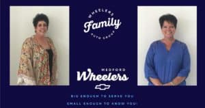 Two women with short hair on Wheelers family ad